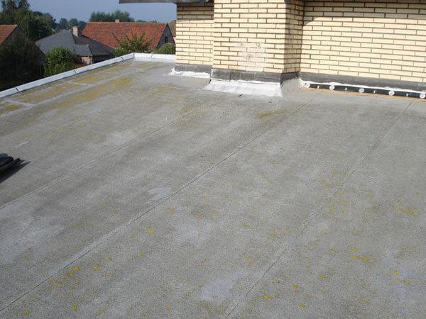 Het dak voor de aanvang van de renovatiewerken.